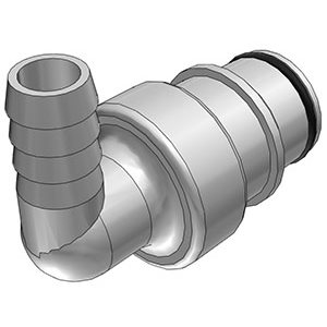 3 / 8 Hose Barb Valved Elbow Polysulfone Coupling Insert