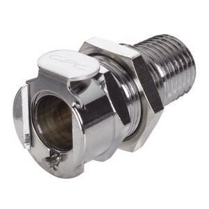 1 / 4 NPT Non-Valved Panel Mount Chrome-plated Brass Coupling Body