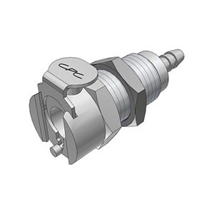 1 / 8 Hose Barb Valved Panel Mount Chrome-plated Brass Coupling Body